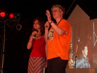 Julie preached each night at the Festival